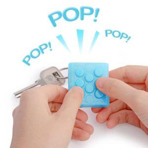 Electronic Bubble Wrap Keychain Squeeze Stress Toy Gadget Bubble Pop Key Chain Blue